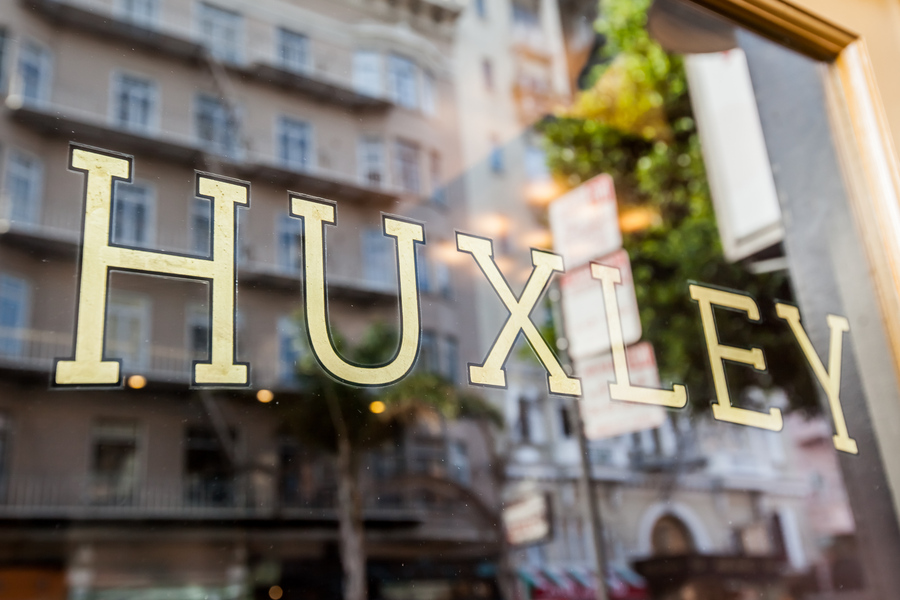 Huxley gold leaf window sign