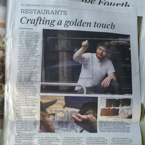 San Francisco Chronicle Gold Leaf Sign Painting Article Square